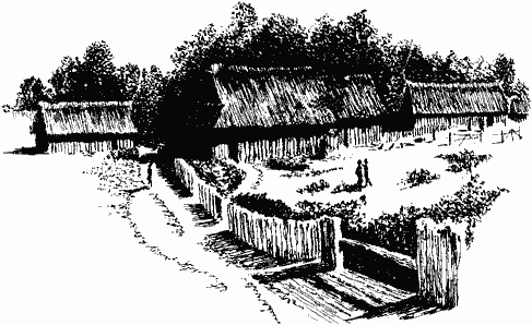 "A black and white conjectural drawing, map-like titled ""Walsham le Willows 43AD – 1066"", of what Saxon Walsham may have looked like. There is one large rectangular wooden church with a thatched roof and two smaller rectangular wooden buildings used as dwellings. There is a paling fence along the stream and a simple wooden bridge over it. ""Romano-British Sites"" are marked with various multiple dots scattered about the map. ""Ixworth Road"", ""West Street"", ""Summer Road"", ""Four Ashes"", ""Wattisfield Road"", ""Crownland"", ""Cranmer Green"", ""Finningham Road"", ""Allwood Green""."