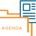 two colour line graphic depicting paper agenda inside folder
