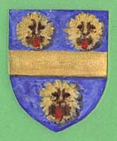 Paintings of The arms of William de la Pole – blue with a wide gold band crossing horizontally with three leopards or wild cats in gold and black.