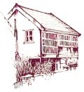A line drawing showing the side view of a jettied house.