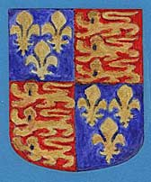 Painting of the English Royal Arms. The shield is quartered – two quarters contain two golden lions on a red background and two quarters contain three golden fleur de lis on a blue background.
