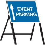 blue event car parking sign