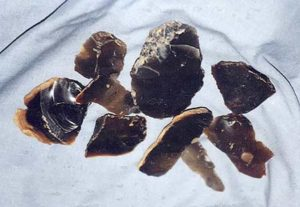 Photograph of waste flakes of flint left over from flint-knapping which were found all over the parish.
