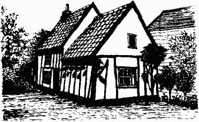 Black and white drawing of Garden Cottage showing exposed timbers and a tiled roof.