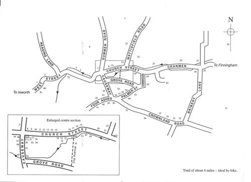 Map of historic trail walk through Walsham-le-Willows noting the 80 odd historic buildings and their significance