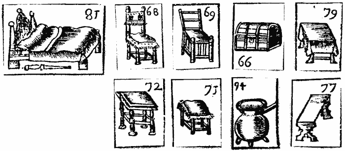 Black and white illustration of chairs, tables, beds, pots etc. – items likely to be found in an inventory.