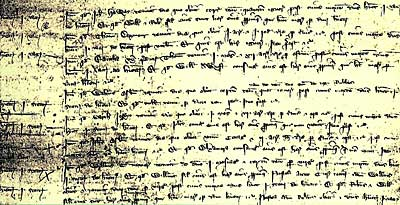 Photograph of part of a manor court roll of 1349 showing the names of some of the tenants who died in the Black Death. It is written in medieval Latin.