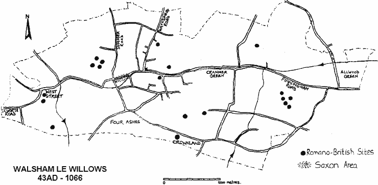 A map of Roman and Saxon Walsham 43AD-1066 showing nineteen Romano British sites scattered all over the parish and the Saxon area around the present church.