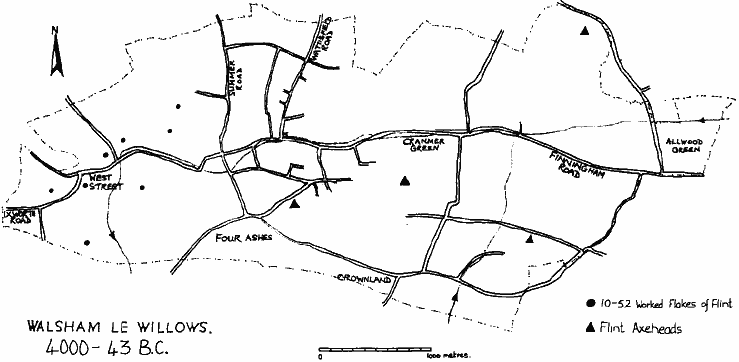 "Map of Walsham, titled ""Walsham le Willows 4000 – 42 BC"", showing where four flint axe-heads were found (of which there are about seven sites) plus the sites of large quantities of waste flints in the West Street area (again around seven sites). ""Ixworth Road"", ""West Street"", ""Summer Road"", ""Four Ashes"", ""Wattisfield Road"", ""Crownland"", ""Cranmer Green"", ""Finningham Road"", ""Allwood Green""."