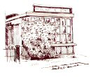 A line drawing of a shop overgrown by a large bush which is obscuring the front part of the shop.