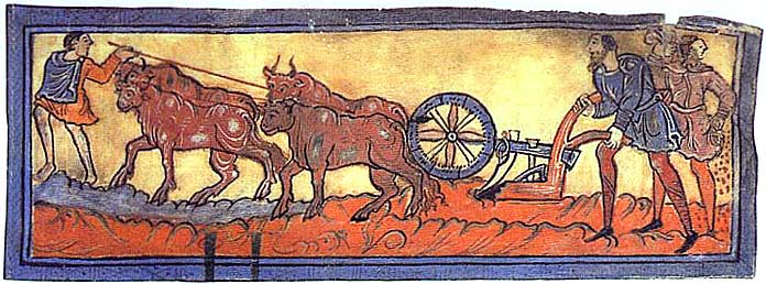 Painting taken from a Psalter depicting four oxen, led by one peasant, pulling a simple mainly wooden plough held by two more. The oxen are brown and the peasants are dressed in blue or brown smocks.