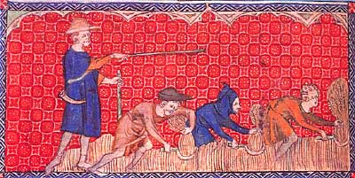 Painting taken from a Psalter showing three peasants cutting corn with sickles while the reeve or hayward stands over them, directing them with a rod. Two of the figures are dressed in bright blue smocks, the other two in brown and orange. The background is a stylised pattern in red and orange.