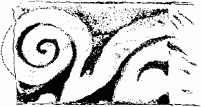 Black and white drawing of a piece of re-used stone from the previous church with a typical Norman carving of a spiral design.