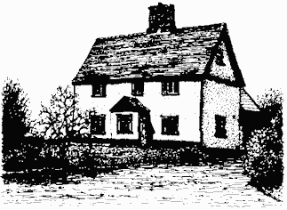 Black and white drawing of Ridings Farmhouse showing white plaster facing, porch and tiled roof.