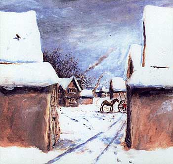 Painting of what Walsham manor may have looked like. A wall topped with thatch surrounds the site and through the open gate can be seen the manor house, barns, dovecote and a horse and cart. It is a winter scene with everything covered in snow.