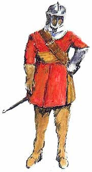 Painting of Ralph Margery in New Model Army uniform – red jacket and silver helmet.