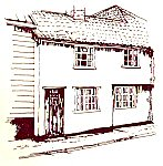 A line drawing of a village terraced house.