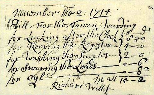 Photograph of part of a bill to the Town Wardens dated 1722 written in English.