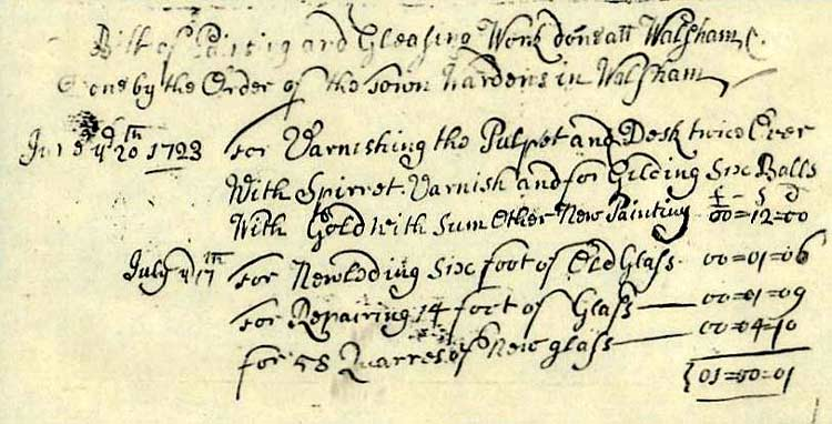 photograph of a part of a bill from1722