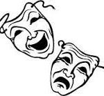 Line drawing of comedy tragedy masks