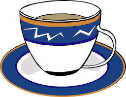 graphic of cup of tea in blue and white cup with orange rim