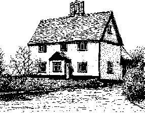 A black and white drawing of a medium sized white painted farmhouse, drawn from an angle with the front to the left and the end of the farmhouse to the right. There is a front porch placed centrally at the front of the building.