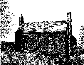 A black and white drawing that shows a chimney at each end of a tiled roof. The drawing suggests that the building is of Flint construction.