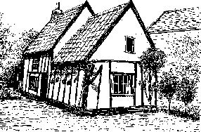Here is a black and white drawing of a charming little cottage, seen from an angle which shows the end of the cottage with the left side receding away from the artist. There is a tiled roof over a white painted building which is covered in a wealth of black beams.