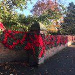 A knitted poppy wall