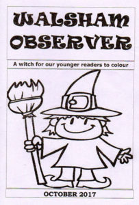 Cover of the Observer magazine, Walsham-le-Willows October 2017, line drawn image of a witch for halloween