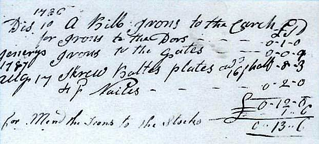 Further evidence - A receipt for mending the irons to the stocks 1s 0d