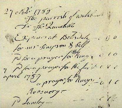 "A receipt for payment of one shilling for a prayer for the king's recovery refers to the ""madness"" of King George III."