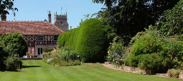 image showing a beautiful green lawn and old yew hedge with house and church in background
