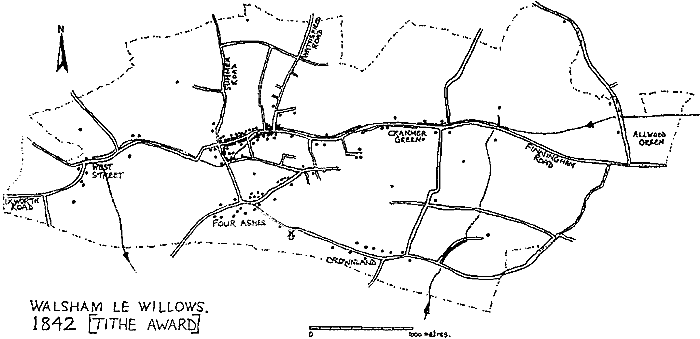 Map of Walsham 1842 taken from information on the Tithe Map and showing the increase in the numbers of houses.