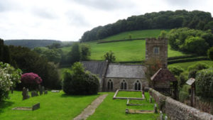 Church at Southleigh set in rolling green hills