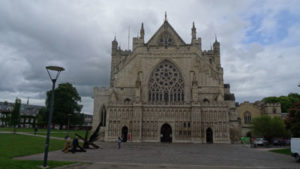 Exeter Cathedral against a grey sky