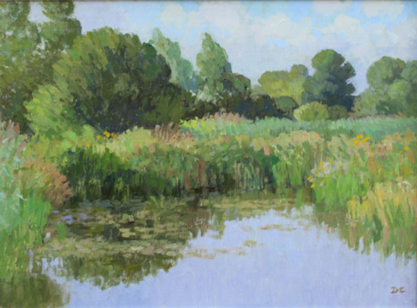 Landscape of fenland in August by Diana Calvert, pastel shades, greens and blues of trees and rushes reflected in water in foregound