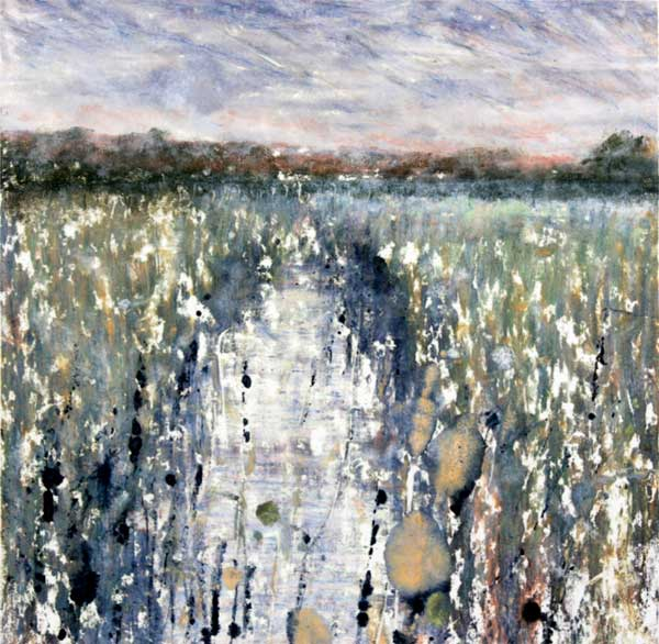 Pastel shades if green blue and brown representing fenland with dyke runnign down middle of painting and reeds, grasses to either side against a darkening sky