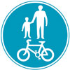 blue sign indicating pedestrian and cycle access