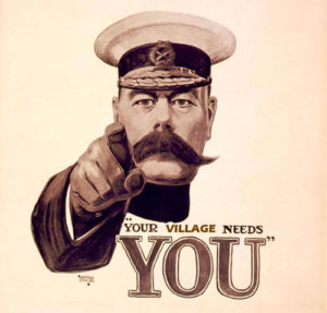 "Sepia toned image of Kitchener, ""Your Village Needs You"""