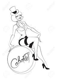 black and white line drawing of cabaret performer sitting on a snare drum
