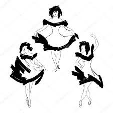 black and white line drawing of three can can girls