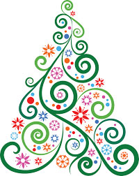 colour line drawing of stylised Christmas tree