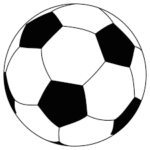 black and white line drawing of a football