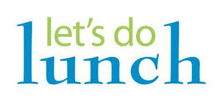 let's do lunch logo, green and blue text