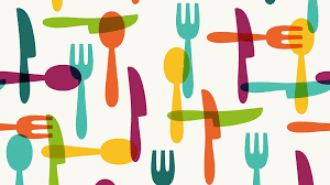 graphic of cutlery in rainbow colours
