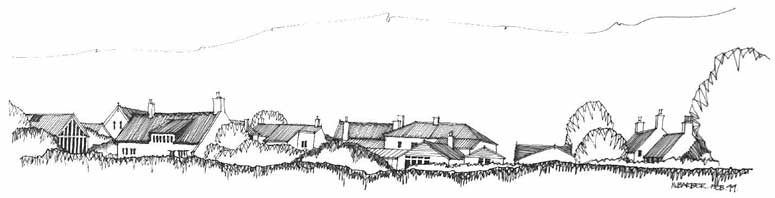 Fine line drawing of Joly Cote Hill in the 20th century as seen from the South – a drawing of roof and tree tops spreading across horizontally, wide and thin.
