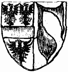 Drawing of a shield. Split in two by a line down the centre and the left side is then again split in two with a large bar through the centre. Above the bar are two spread eagles with one more below. On the right hand half is a shape which, as can be seen in the text, is a lady's sleeve