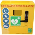 yellow automated electronic defibrillator device
