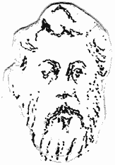 Small line drawing showing a thickly bearded face of a maybe 50 year old man.